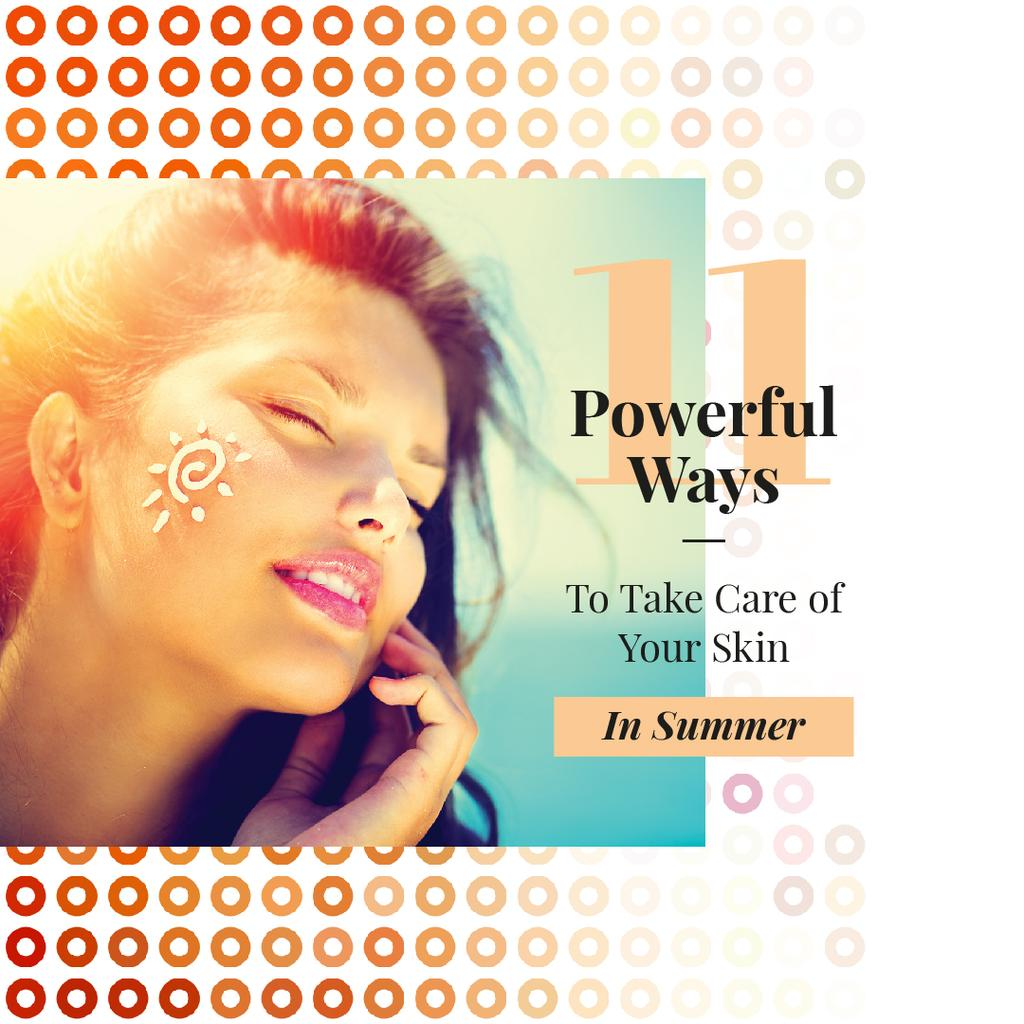 Woman with sunscreen on face — Создать дизайн