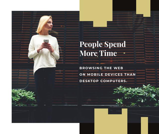 Woman using Smartphone Facebookデザインテンプレート