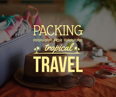 Ontwerpsjabloon van Facebook van Packing Suitcase for Summer Vacation