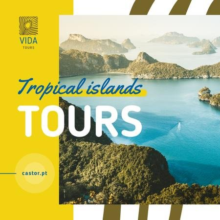 Tropical Tour Invitation with Sea and Islands View Instagram Design Template