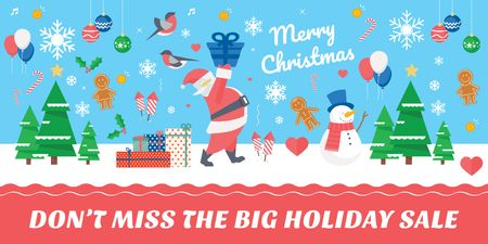 Template di design Christmas Holiday Sale with Santa Delivering Gifts Twitter