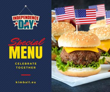 Independence Day Menu with Burgers | Facebook Post Template
