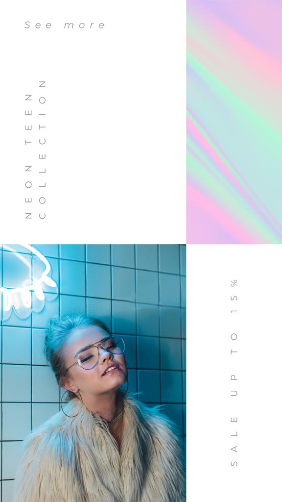 Neon Teen Collection with Girl in furs — Crea un design