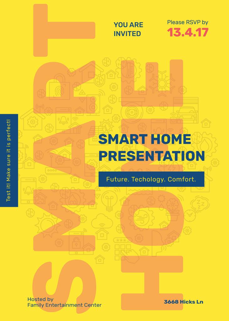 Smart home icons in Yellow Invitation Tasarım Şablonu