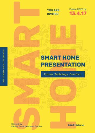 Smart home icons in Yellow Invitation Modelo de Design