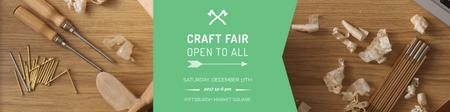 Plantilla de diseño de Craft fair Announcement with Tools Twitter