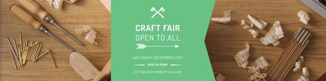 Plantilla de diseño de Craft fair Announcement with Tools Twitter