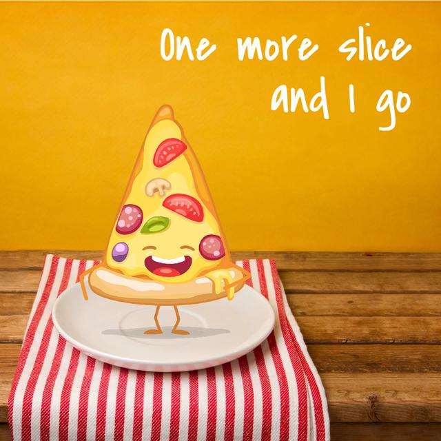Funny laughing Piece of Pizza Animated Post Design Template