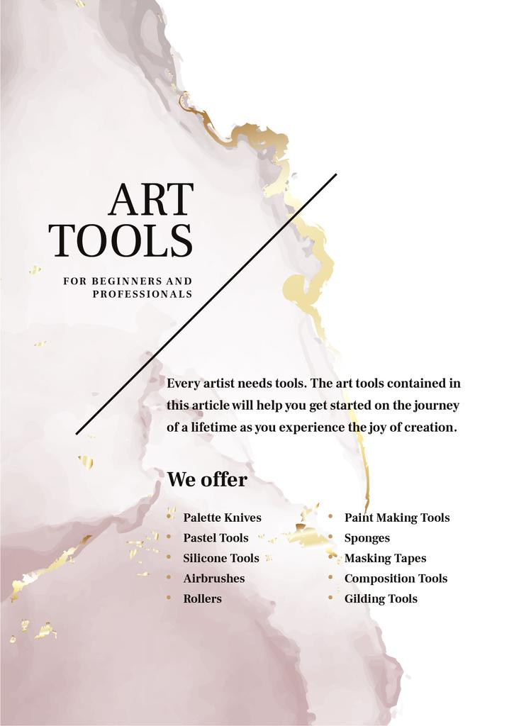 Art tools Offer with Watercolor stains — Crear un diseño