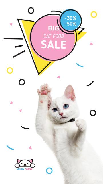 Designvorlage Cat Food Offer Jumping White Cat für Instagram Video Story