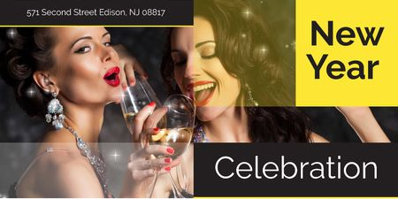 Ontwerpsjabloon van Twitter van New Year celebration with Attractive Women