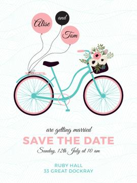 Wedding Invitation Card with Bicycle and Flowers Poster