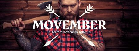 Modèle de visuel Lumberjack with mustache and beard - Facebook cover