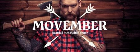 Lumberjack with mustache and beard Facebook cover Modelo de Design