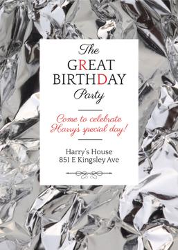 Birthday Party Invitation Silver Foil