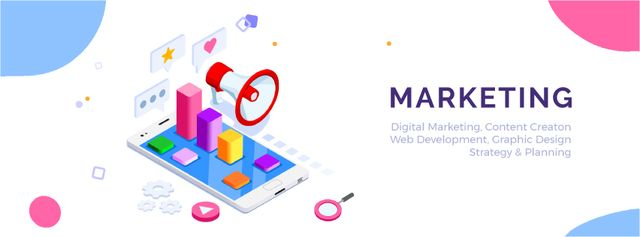 Megaphone and icons on phone screen Facebook Video cover Modelo de Design