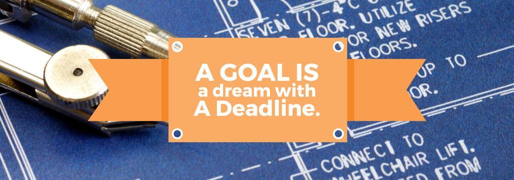 Goal Motivational Quote Blueprints and Compass — Maak een ontwerp