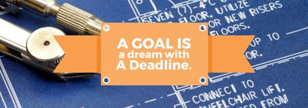 Designvorlage Goal Motivational Quote Blueprints and Compass für Tumblr