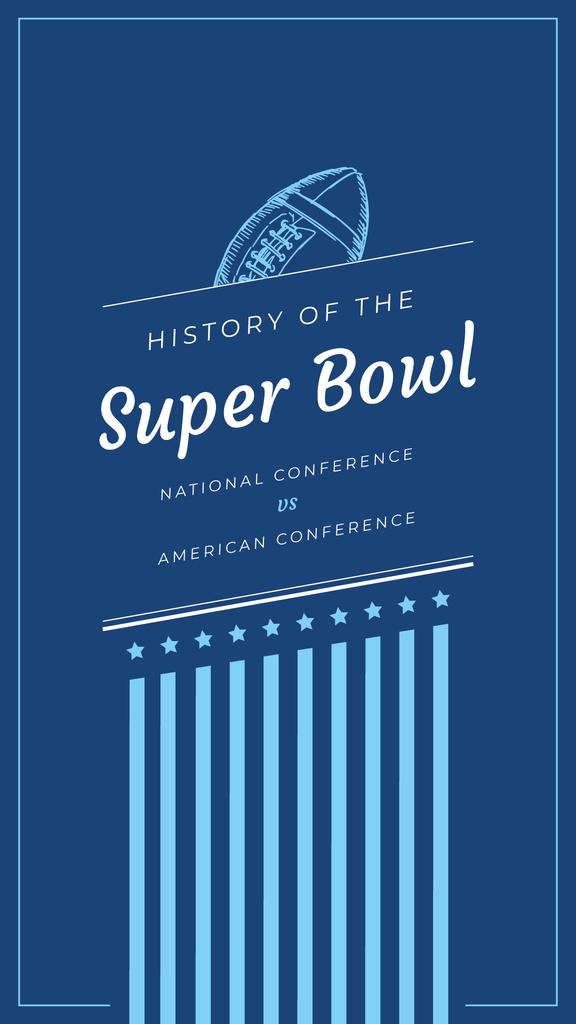 Super Bowl Event Invitation Blue Rugby Ball | Stories Template — Créer un visuel