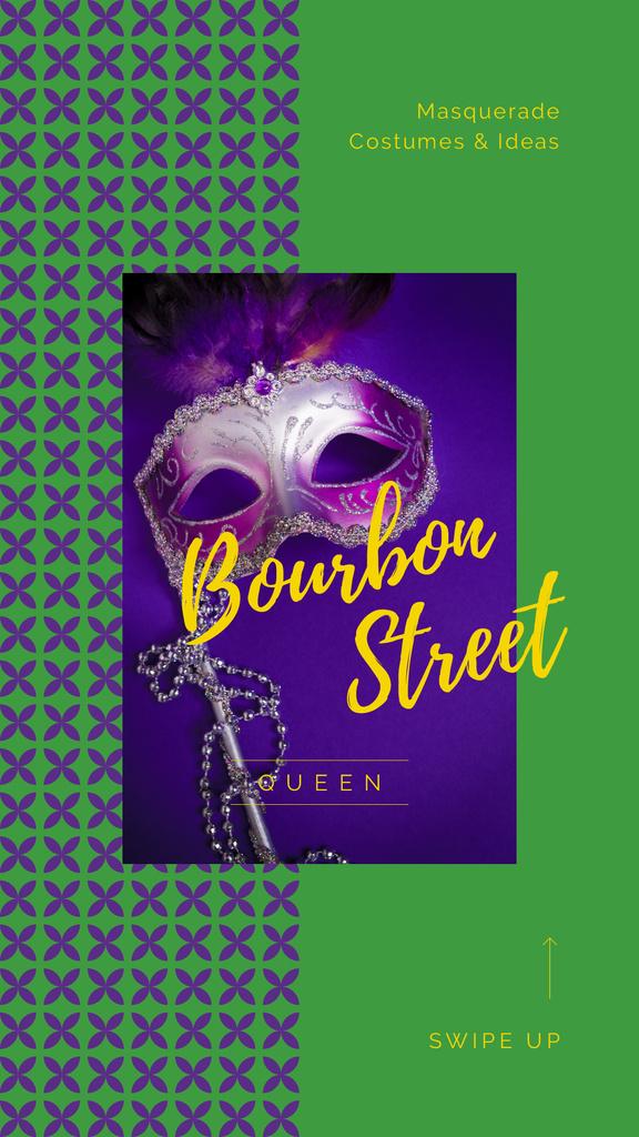 Plantilla de diseño de Mardi Gras Invitation Carnival Mask Instagram Story