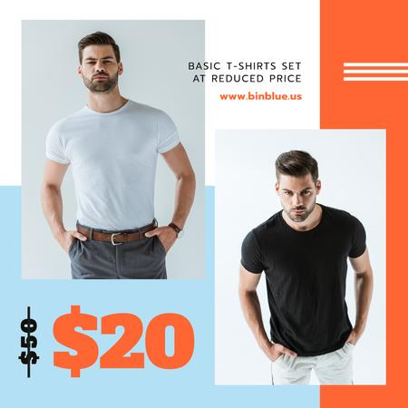 Clothes Sale Man Wearing Basic T-shirt Instagram AD Tasarım Şablonu