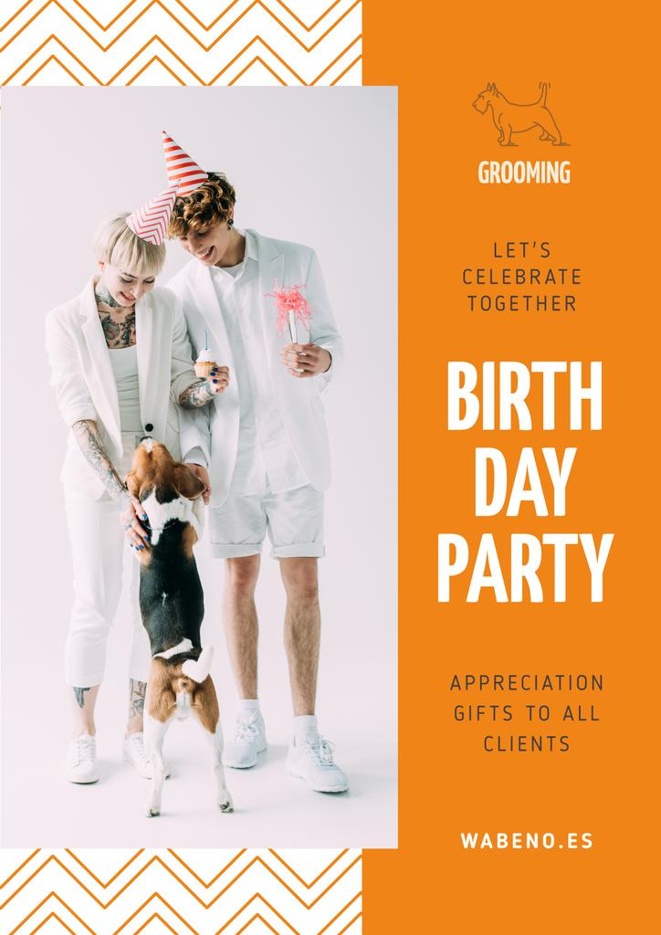 Birthday Party Annoucement with Couple with Dog — Crea un design