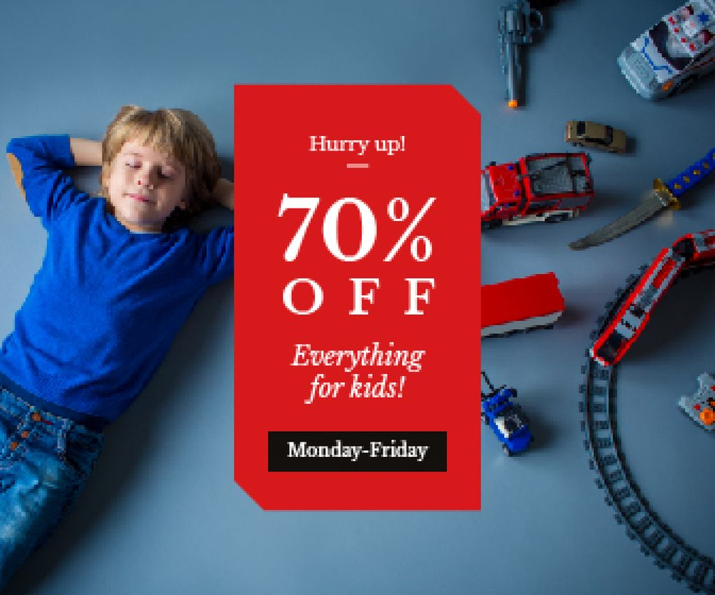 Kids' Toys Sale Boy Sleeping by Toy Train | Large Rectangle Template — Створити дизайн
