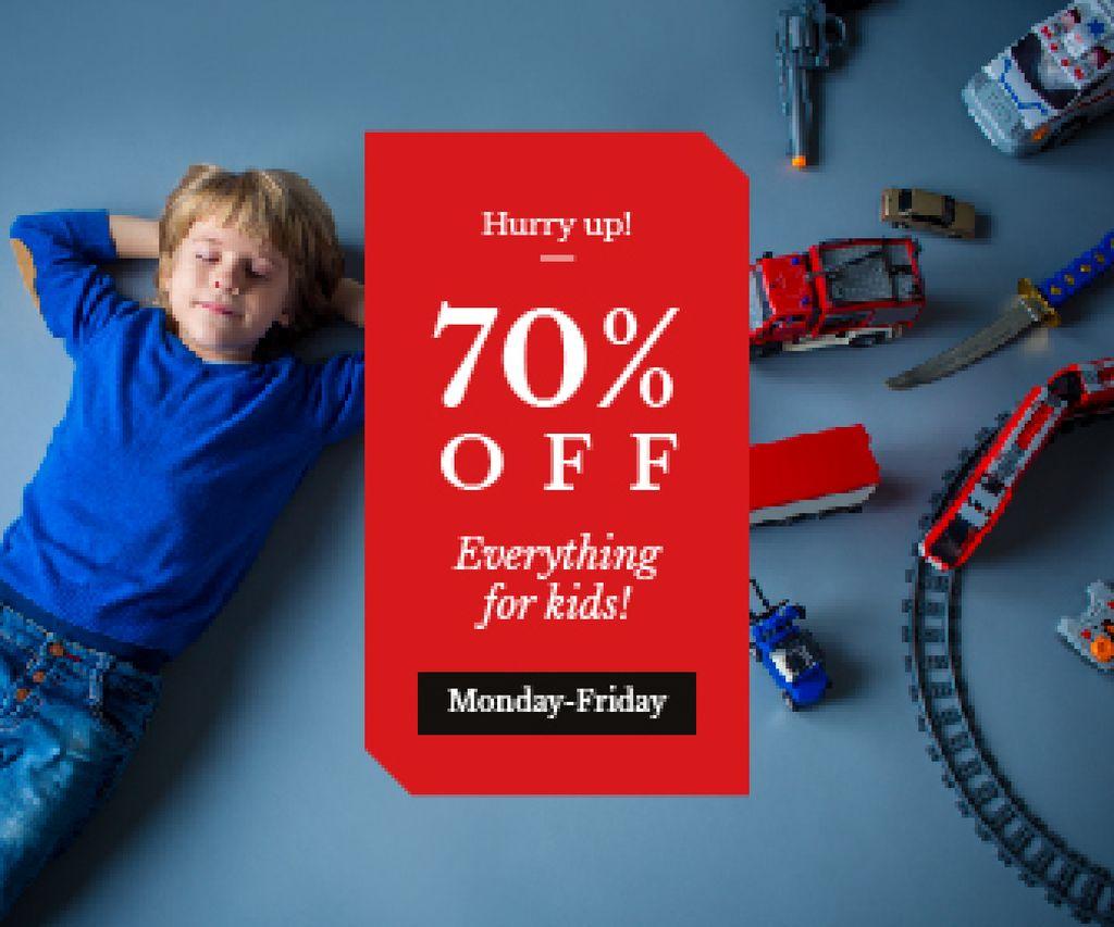 Kids' Toys Sale Boy Sleeping by Toy Train | Large Rectangle Template — Créer un visuel