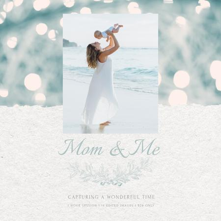 Mother's Day Mom with Baby by Sea Animated Post Modelo de Design