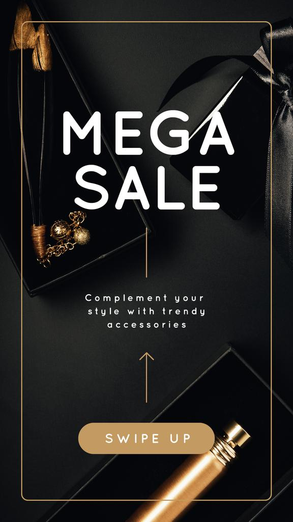 Fashion Store Sale Golden Accessories Instagram Story Modelo de Design