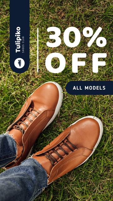 Plantilla de diseño de Shoes Sale Legs in Leather Shoes Instagram Story