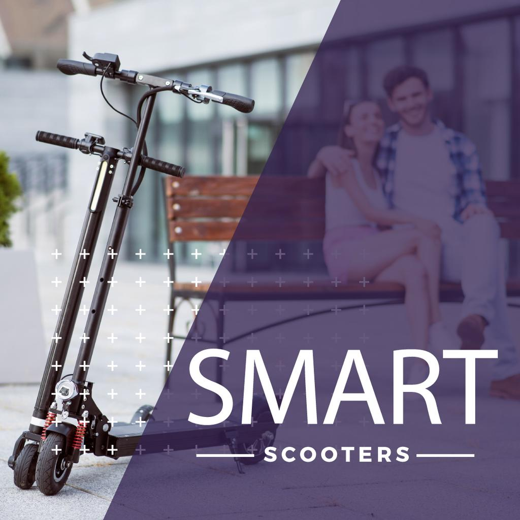 Couple sitting on the bench with scooters — Создать дизайн