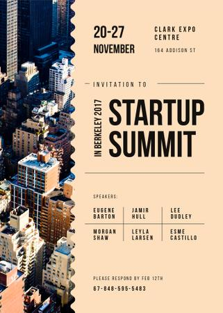 Plantilla de diseño de Startup Summit ad on modern city buildings Invitation