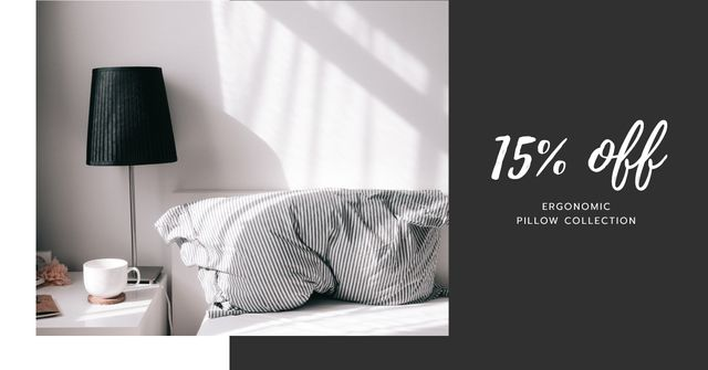Comfortable Bedroom in grey colors for Pillows sale Facebook AD Modelo de Design