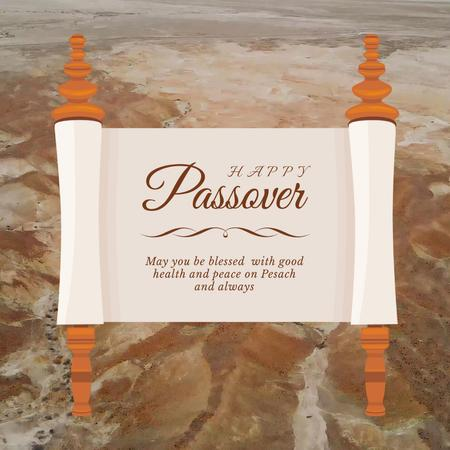 Passover Greeting on Scroll over Desert Animated Post Modelo de Design