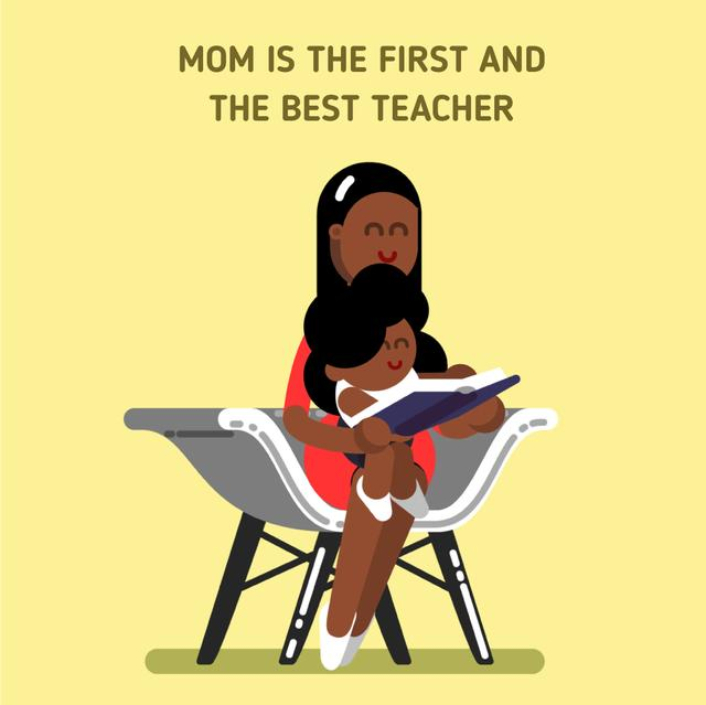 Mother and child reading book Animated Post Modelo de Design