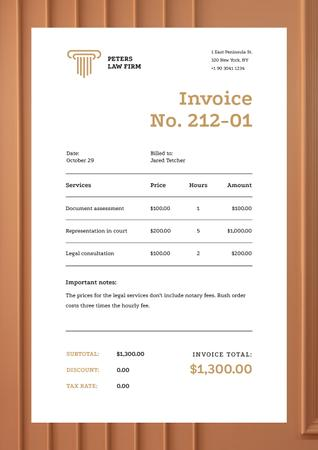 Plantilla de diseño de Law Services with Brown Pattern Frame Invoice