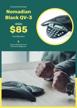 Gadget Store Offer Man by Speakerphone | Poster Template