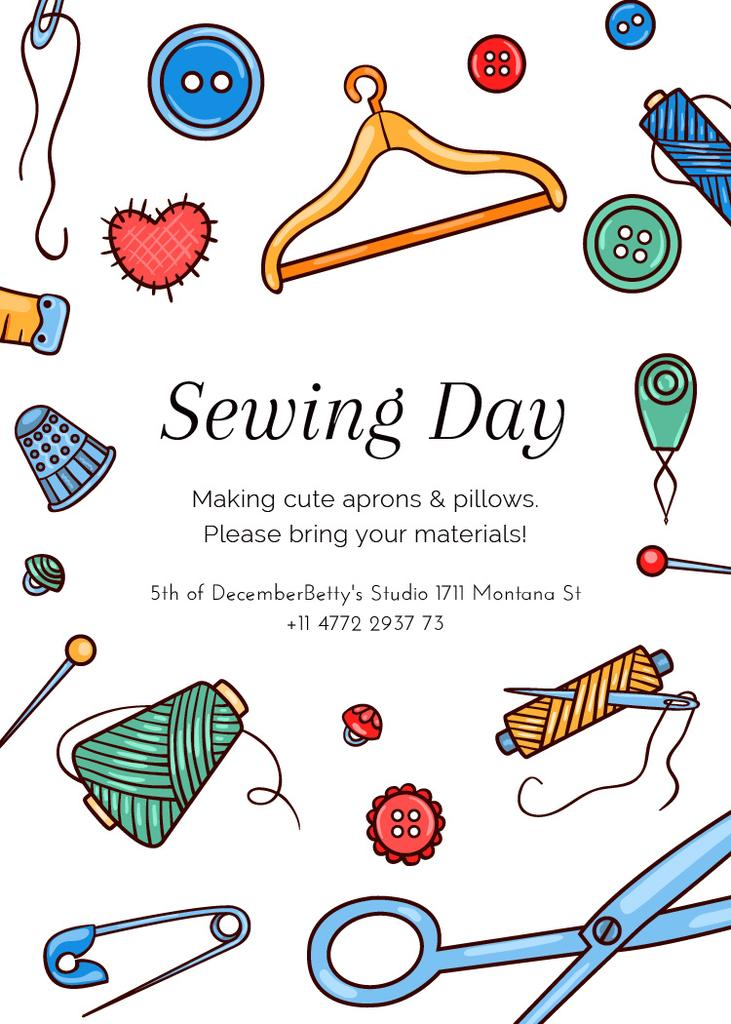 Sewing day event with needlework tools — Crear un diseño