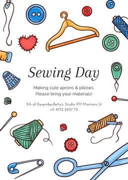 Sewing day event with needlework tools