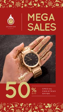 Plantilla de diseño de Christmas Offer Woman Holding Watch Instagram Story