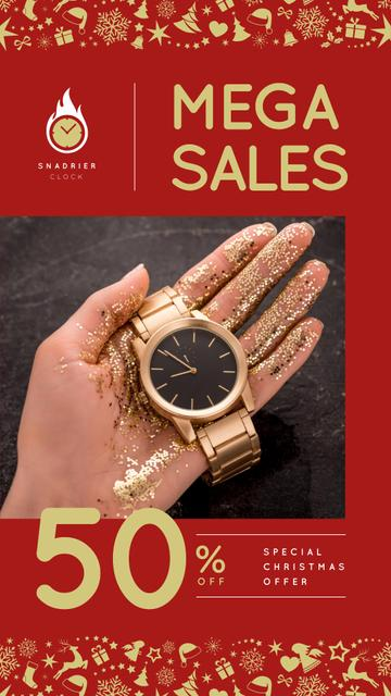 Template di design Christmas Offer Woman Holding Watch Instagram Story