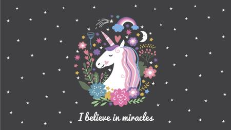 Plantilla de diseño de Inspiration Quote Unicorn in Flowers Frame Full HD video
