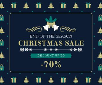 Christmas Sale Announcement Frame with Trees and Gifts | Medium Rectangle Template
