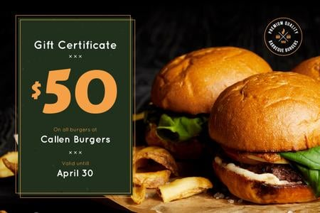 Fast Food Offer with Tasty Burgers and Fries Gift Certificate Modelo de Design