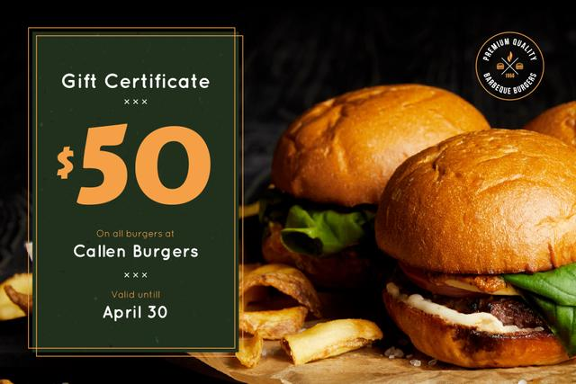 Plantilla de diseño de Fast Food Offer with Tasty Burgers and Fries Gift Certificate