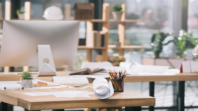 Template di design Cozy Architect workplace Zoom Background