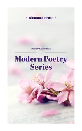 Poetry Series Cover Spring Flowers in Pink Book Cover Design Template