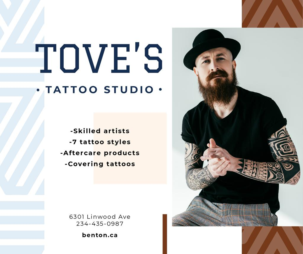 Tattoo Studio Ad Young Tattooed Bearded Man | Facebook Post Template — Create a Design
