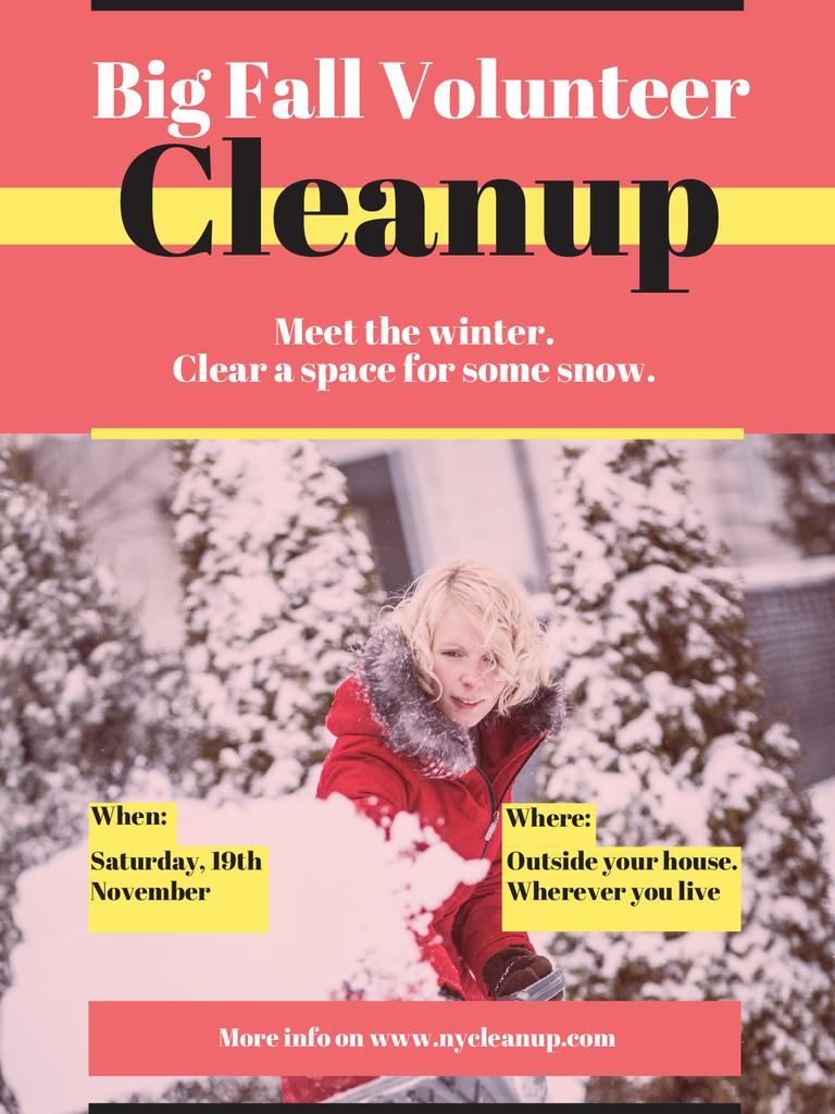 Woman at Winter Volunteer clean up — Crear un diseño